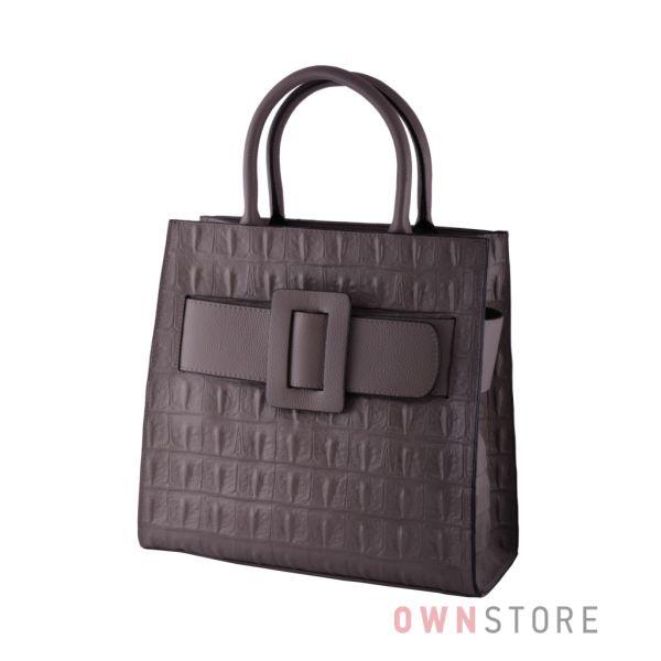 Купить сумку женскую кожаную серая с пряжкой онлайн - арт.052