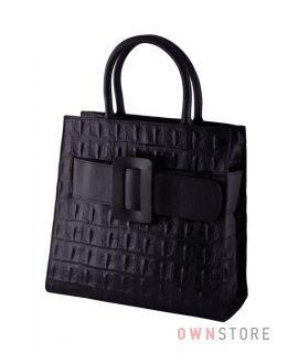 Купить сумку женскую кожаную черную с пряжкой онлайн - арт.052)