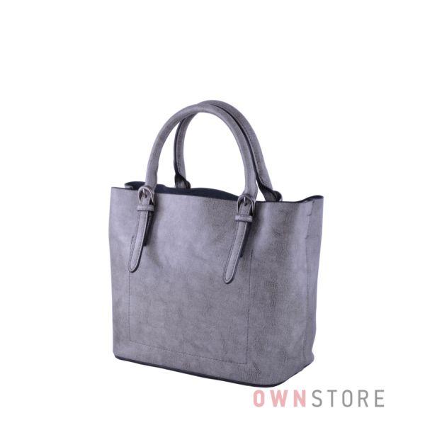 Купить онлайн серую женскую сумочку из кожи - арт.293