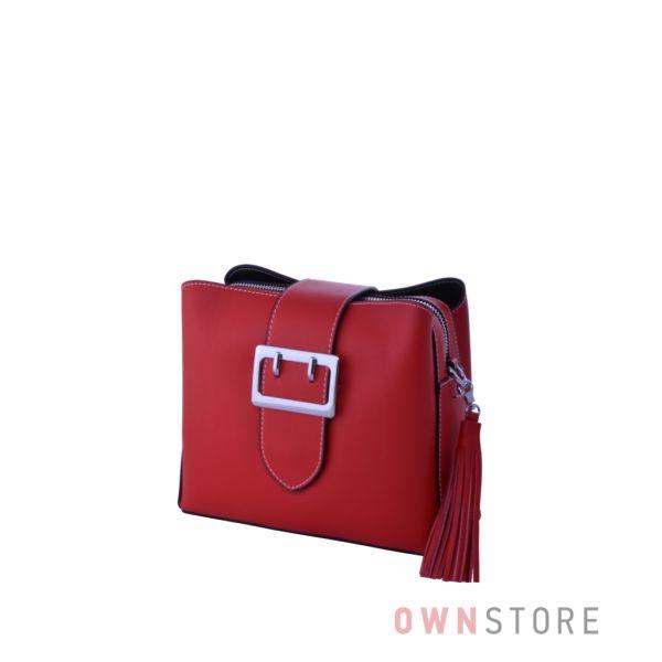 Купить сумочку женскую из кожи на три отделения красную - арт.353