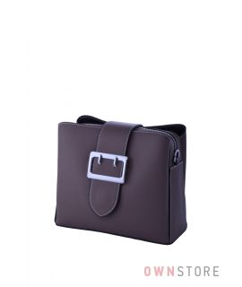 Купить сумочку женскую из кожи на три отделения цвета какао - арт.353