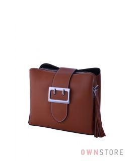 Купить кожаную женскую сумочку на три отделения рыжую - арт.353