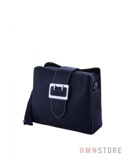 Купить сумочку женскую из кожи на три отделения черную - арт.353