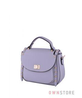 Купить сумочку женскую светло-серую кожаную с заклепками онлайн - арт.361