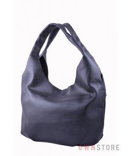 Купить онлайн большую женскую черную кожаную сумку-мешок - арт.3632