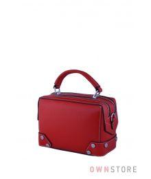 Маленькая сумочка-саквояж красная(арт.387)