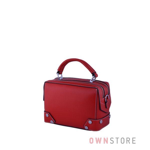 Купить онлайн маленькую женскую сумочку-саквояж красную из кожи - арт.387