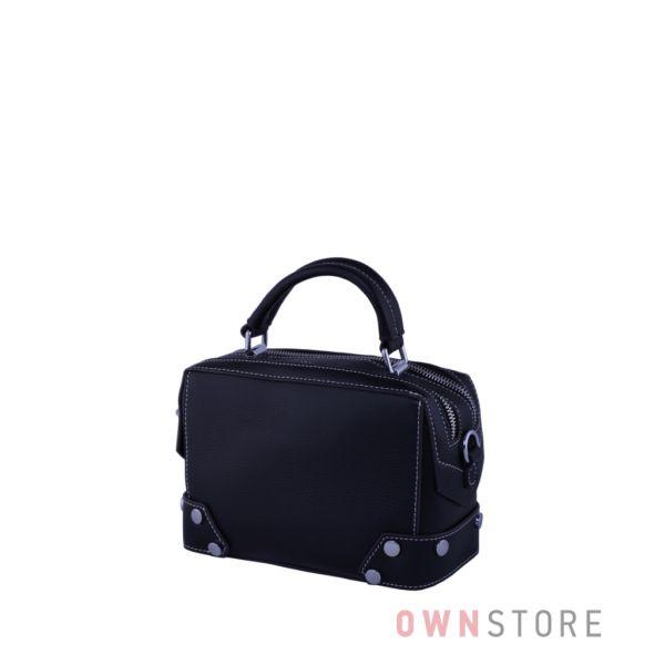 Купить онлайн маленькую женскую кожаную сумочку-саквояж черную  - арт.387