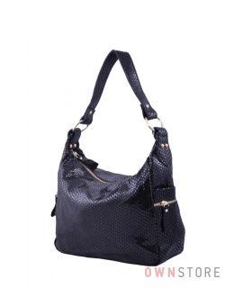 Купить онлайн сумку женскую из черного лазера с карманами по бокам - арт.6005