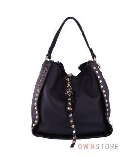 Купить онлайн сумку женскую черную из натуральной кожи с заклепками - арт.6016