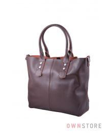 Классическая сумка с ключницей из коричневой кожи (арт.629)