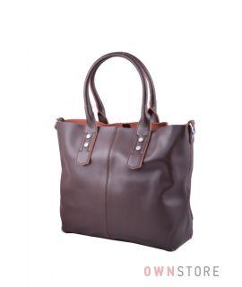 Купить онлайн классическую женскую сумку с ключницей из коричневой кожи - арт.629