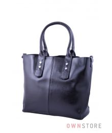 Классическая сумка с ключницей из черной кожи (арт.629)