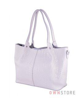 Купить онлайн сумку женскую  белую из кожи с тиснением  - арт.661-1