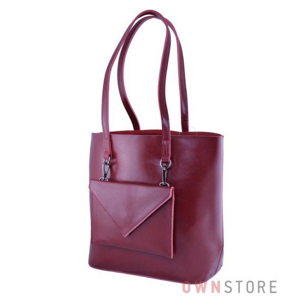 Купить онлайн сумку женскую из кожи со съемным карманом красную - арт.75