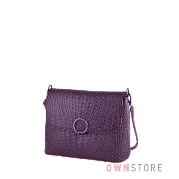 Купить онлайн кожаную бордовую женскую сумочку с имитацией плетенки - арт.753