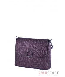 Кожаная коричневая сумочка с имитацией плетенки(арт.753)