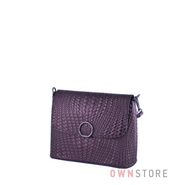 Купить онлайн кожаную коричневую женскую сумочку от Фарфалла Россо с имитацией плетенки - арт.753