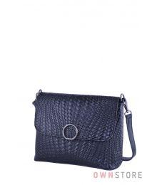 Кожаная черная сумочка с имитацией плетенки(арт.753)