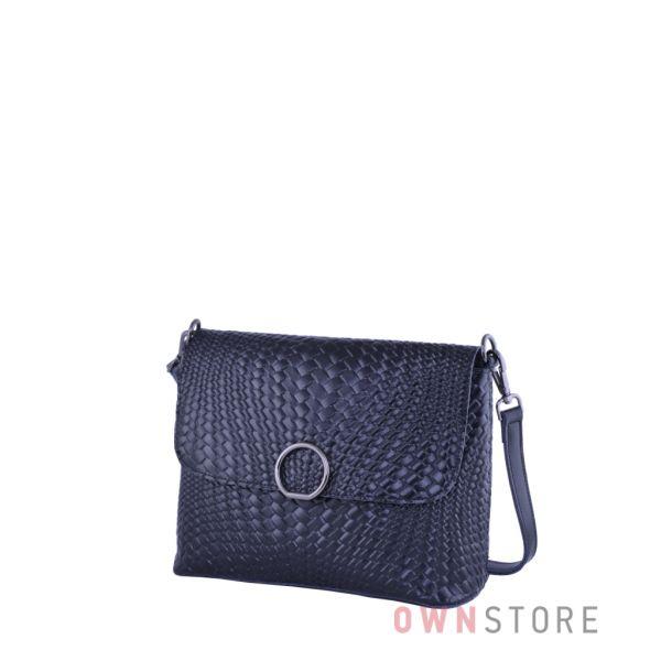 Купить онлайн кожаную черную женскую сумочку с имитацией плетенки - арт.753