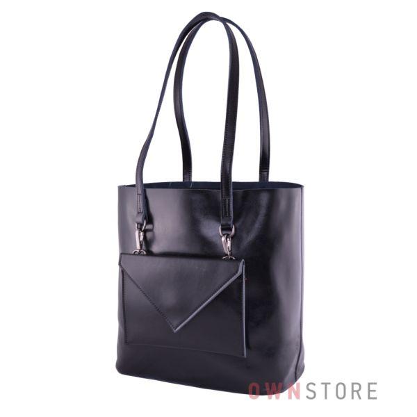 Купить онлайн сумку  женскую из кожи со съемным карманом черную  - арт.75