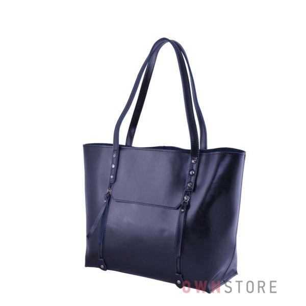 Купить онлайн сумку женскую черную кожаную с карманами - арт.76