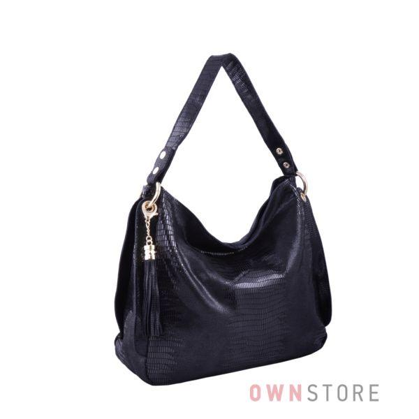 Купить онлайн сумку женскую на одной ручке из черного лазера - арт.8023