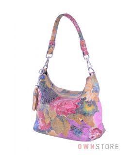 Купить сумку-мешок женскую с яркими цветами  онлайн - арт.8062