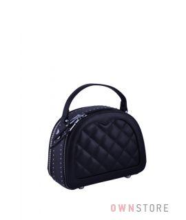 Купить онлайн кожаную женскую сумочку полукруглую с заклепками черную  - арт.817