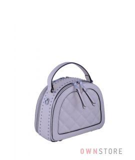 Купить онлайн сумочку женскую кожаную полукруглую с заклепками белую - арт.817