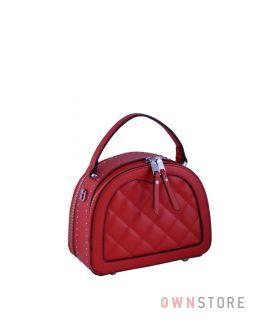 Купить онлайн сумочку женскую  полукруглую с заклепками красную - арт.817