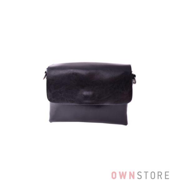 Купить кожаный женский клатч из масла черный - арт.857