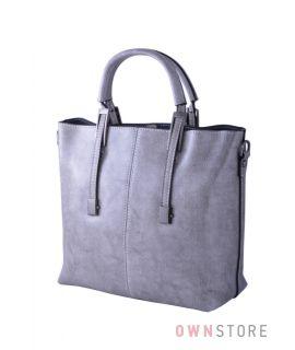 Купить онлайн сумку женскую кожаную серую со строчкой - арт.872
