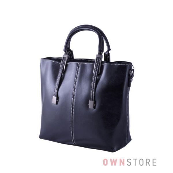 Купить онлайн сумку женскую кожаную черную со строчкой - арт.872