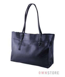 """Купить онлайн большая женская кожаная сумка из """"масла"""" черная - арт.8825"""