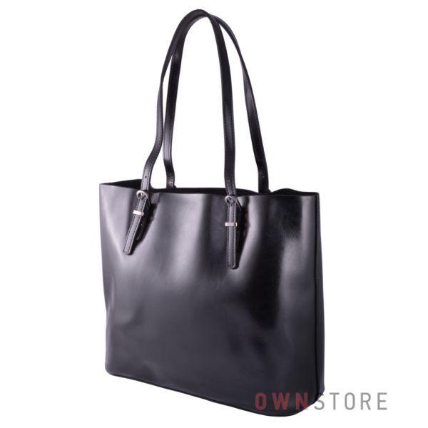 Купить онлайн сумку женскую из кожи с регулируемыми ручками черную - арт.88601-1