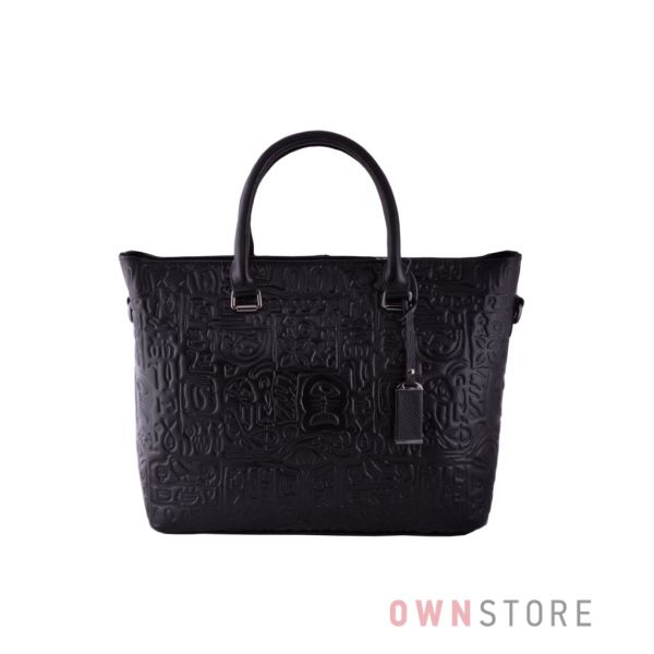 Купить женскую сумку классическую черную с тиснением - арт.9011