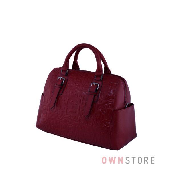 Купить сумку саквояж женскую красную кожаную с иероглифами онлайн - арт.9015
