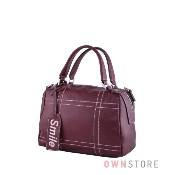 Купить онлайн сумку-саквояж женскую цвета марсала со строчками - арт.9650