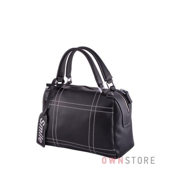 Купить онлайн  сумку-саквояж женскую черную со строчками - арт.9650