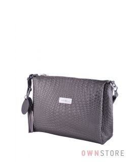 Купить онлайн сумочку женскую серую из кожи с тиснением от Фарфалла Россо - арт.102