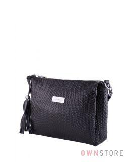 Купить онлайн сумочку женскую черную из кожи с тиснением от Фарфалла Россо - арт.102