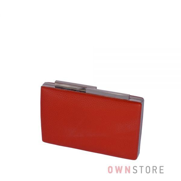 Купить красный женский клатч из кожзама на магните - арт.002