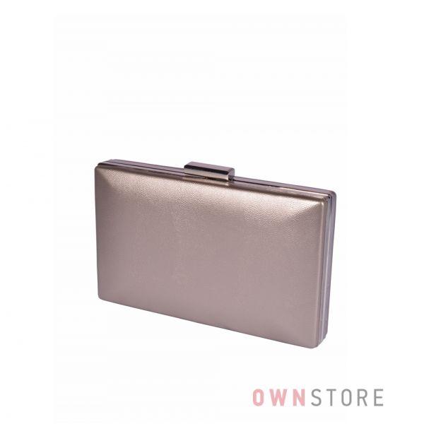 Купить онлайн клатч  женский бронзовый плоский из кожзама - арт.09837