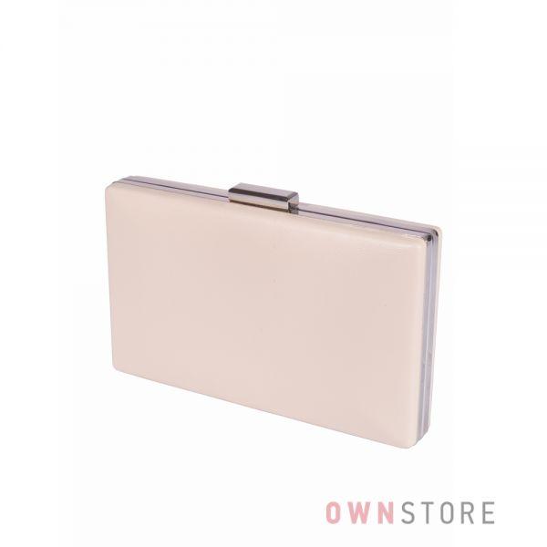 Купить онлайн клатч женский кремовый плоский из кожзама - арт.09837