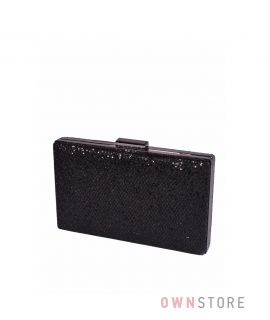 Купить онлайн клатч женский черный парчовый с чешуйками плоский - арт.09837