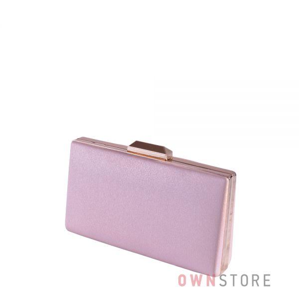 Купить онлайн блестящий розовый женский клатч из кожзаменителя - арт.1806