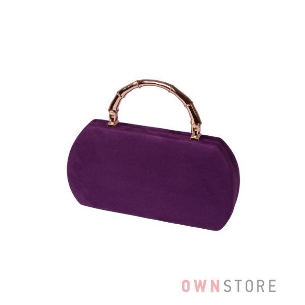 Купить онлайн клатч женский фиолетовый замшевый с оригинальной ручкой - арт.1874