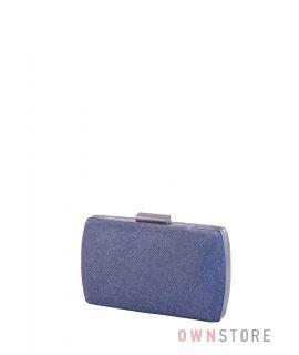 Купить онлайн клатч женский  парчовый с блеском серо-синий от Rose Heart- арт.283