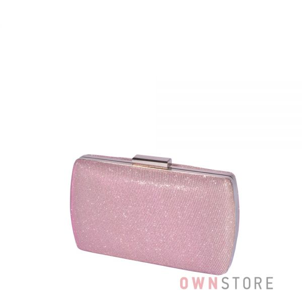 Купить онлайн клатч женский парчовый с блеском розовый - арт.283